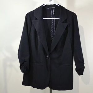 Maurices Women's XL Black 3/4 Ruched Blazer Jacket